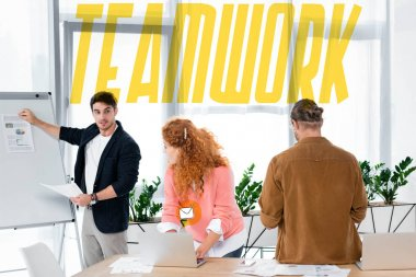 businesspeople looking at friend showing paper with charts and graphs with teamwork illustration