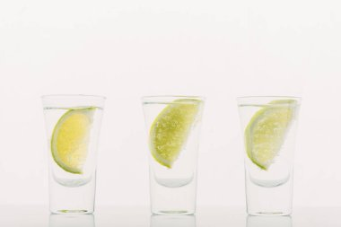 Fresh tequila with lime in row isolated on white stock vector
