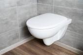 Čistá bílá toaletní mísa v koupelně s šedou dlaždicí