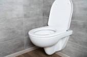 Čistá toaletní mísa s otevřeným sedadlem v moderní koupelně s šedou dlaždicí