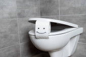 Toilet paper with smile sign on toilet bowl in restroom