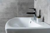 Keramické umyvadlo s rostlinou v koupelně s šedými dlaždicemi