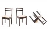 Kényelmes barna fa székek elszigetelt fehér