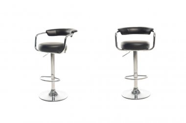 Two black bar stools isolated on white stock vector