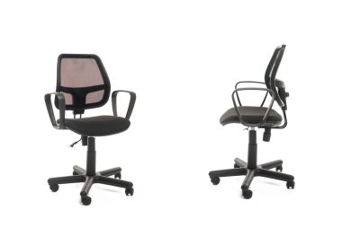 Two black office chairs isolated on white stock vector