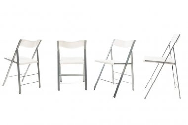 Modern chairs with white seats isolated on white stock vector