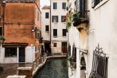 Benátky, Itálie - 24. září 2019: Canal and ancient building in Venice, Italy