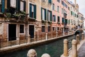 kanál a starobylé budovy s rostlinami v Benátkách, Itálie