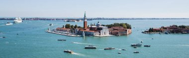 Panoramic shot of San Giorgio Maggiore island and vaporettos floating on river in Venice, Italy stock vector