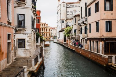 Canal and ancient buildings with plants in Venice, Italy stock vector
