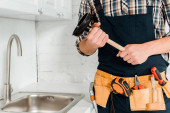 abgeschnittene Ansicht von Klempner hält Kolben in der Nähe Spüle in Küche