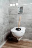 WC-dugattyú fehér WC-papírtekercsek közelében