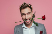 cheerful man in crown holding red rose in teeth, isolated on pink