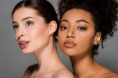 Fotografie portrait of naked multiracial women with perfect skin, isolated on grey