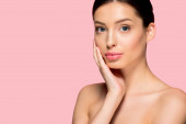 Fotografie portrait of beautiful nude girl with clean face, isolated on pink