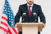Photo cropped view of bearded speaker in suit standing near microphones
