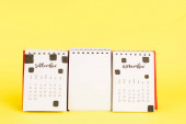 Calendar with September and november months and empty blank on yellow background