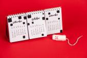 Fotografie Kalender und Hygienetampon mit traurigem Gesichtsausdruck auf rotem Hintergrund