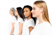 selective focus of multicultural women in white t-shirts isolated on white