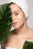 mladá žena s hydratační krém na obličeji a ručník na hlavě pózuje se zelenými listy, izolované na šedé
