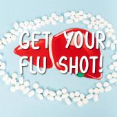 vrchní pohled na pilulky v blízkosti čerpaných jater a dostat svůj chřipka záběr písmena na modré