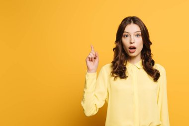 surprised girl showing idea gesture while looking at camera on yellow background