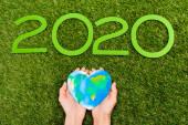 Fényképek Vágott kilátás 2020 számjegyek és földgömb női kezekben zöld, föld nap koncepció