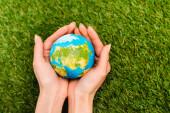 Vágott kilátás földgömb női kezekben zöld háttér, föld nap koncepció
