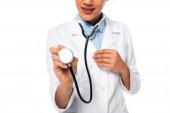 Vágott kilátás afro-amerikai orvos mutatja sztetoszkóp izolált fehér