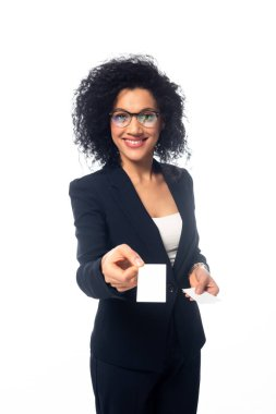 African american businesswoman smiling and presenting business card isolated on white