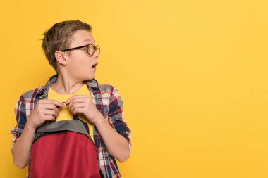 Shocked schoolboy with glasses holding backpack isolated on yellow stock vector