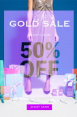cropped view of african american woman in silver dress near payment terminal with check, shopping bags and gifts on blue background, gold sale 50 percent off illustration