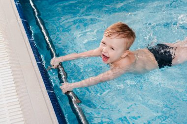 overhead view of excited toddler boy swimming near flutter boards in swimming pool