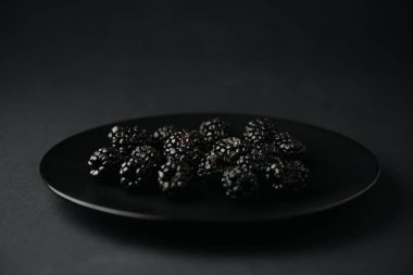 Plate with organic and tasty blackberries on black stock vector