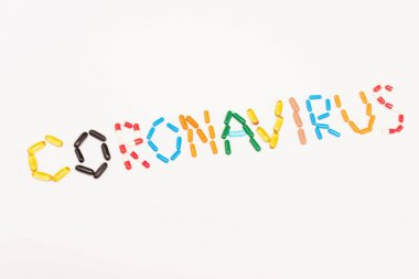 Top view of coronavirus lettering from colorful pills isolated on white stock vector