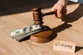 Ausgeschnittene Ansicht des Richters, der einen Hammer in der Nähe von Dollarnoten und Papier mit Unterhaltsbuchstaben auf dem Schreibtisch hält