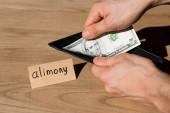 levágott kilátás férfi tartó pénztárca és dollár bankjegy mellett papír tartásdíj levél