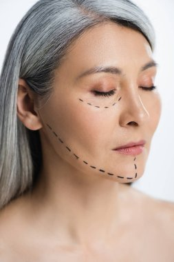 Asian woman with closed eyes and plastic surgery correction mark on face isolated on grey stock vector