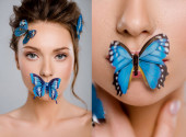 collage of beautiful girl with decorative butterflies on mouth and face isolated on grey