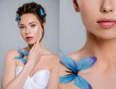 koláž krásné dívky s dekorativními motýly na těle dotýkat tvář izolované na šedé