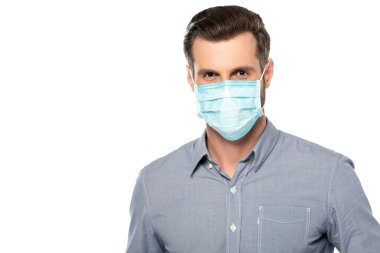 Businessman in blue medical mask isolated on white stock vector