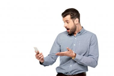Shocked businessman pointing with hand at smartphone isolated on white stock vector