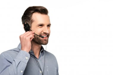 Happy operator in headset talking isolated on white stock vector