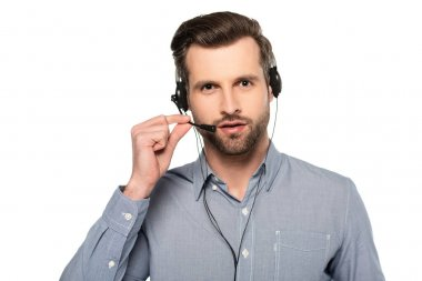 Bearded operator touching headset and talking isolated on white stock vector