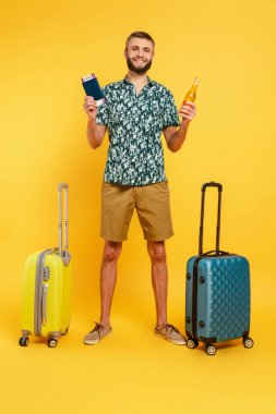 Full length view of happy bearded guy with travel bags, beer and passport on yellow stock vector