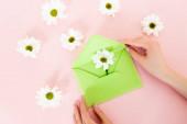 oříznutý pohled na ženu držící zelenou obálku poblíž bílých květin na růžové