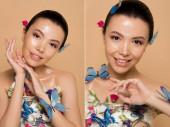 koláž s šťastný atraktivní nahý asijské dívka v květinách s motýly na těle izolované na béžové