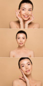 collage with attractive naked asian girl with perfect skin isolated on beige