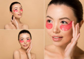 collage with attractive naked asian girl with pink collagen eye pads isolated on beige