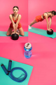 Photo collage of young woman in sportswear exercising with balls near skipping rope and sports bottle on pink